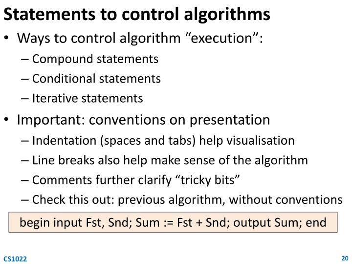 Statements to control algorithms