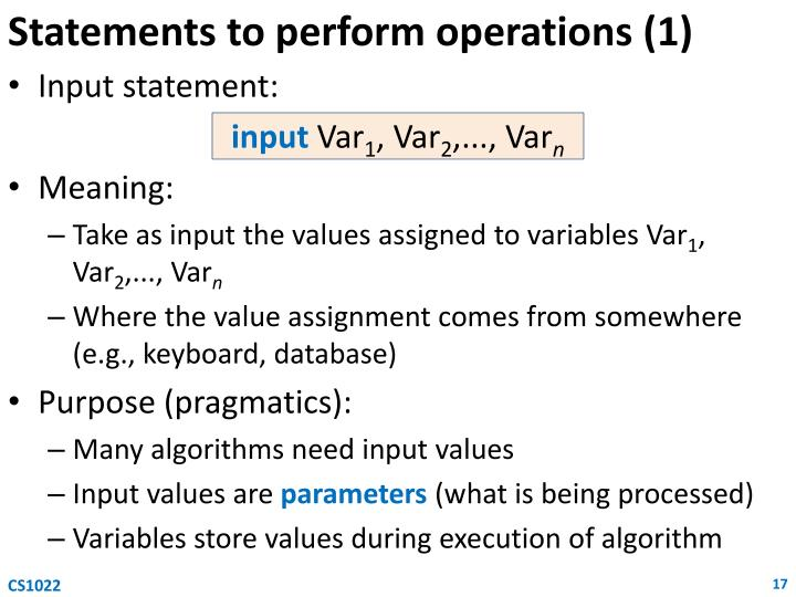 Statements to perform operations (1)