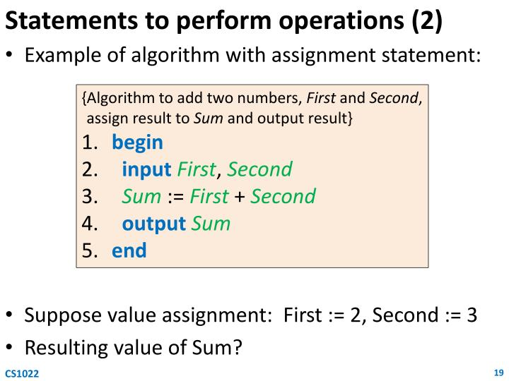 Statements to perform operations (2)