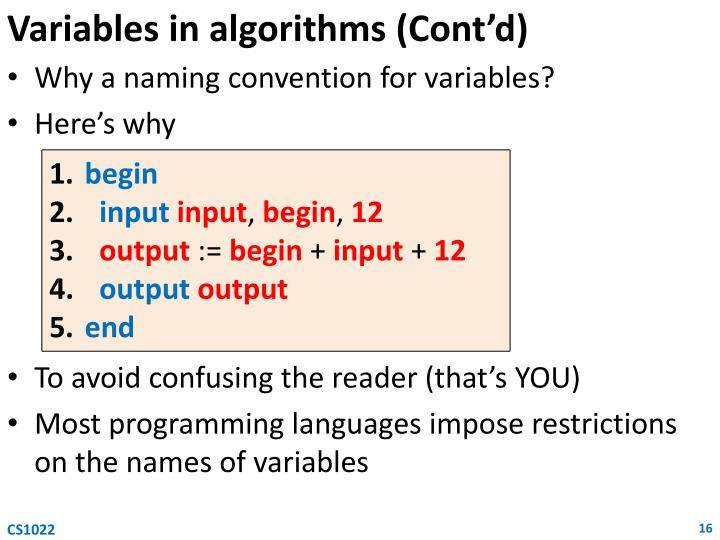 Variables in algorithms (Cont'd)