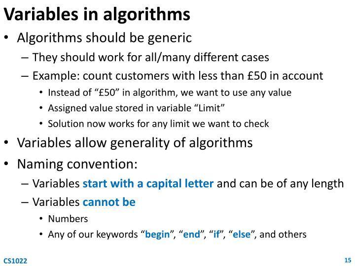Variables in algorithms