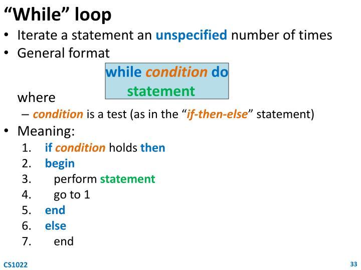 """""""While"""" loop"""