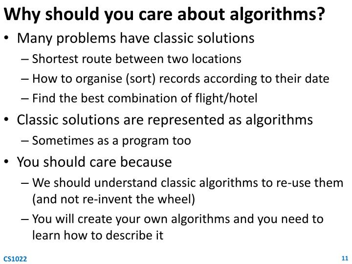 Why should you care about algorithms?