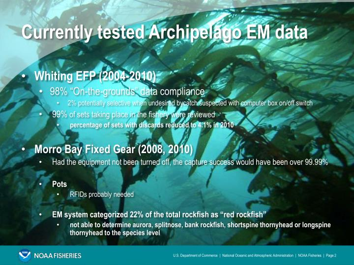 Currently tested Archipelago EM data