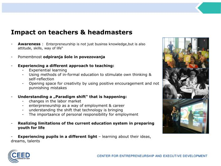 Impact on teachers & headmasters