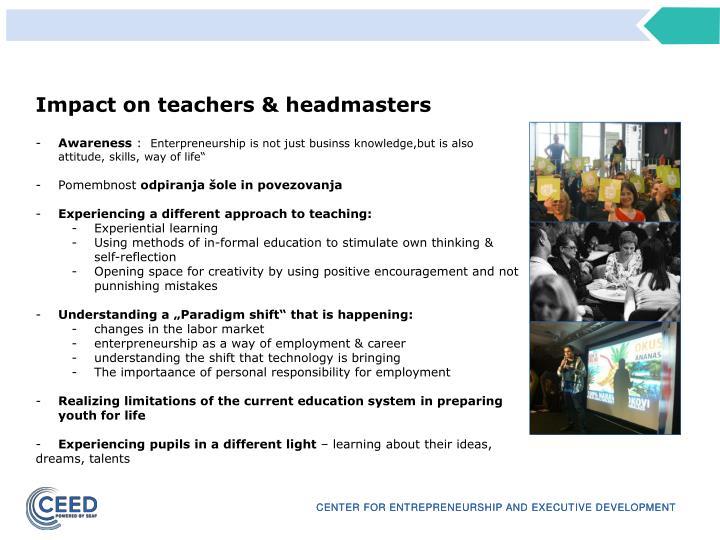 Impact on teachers & headmasters