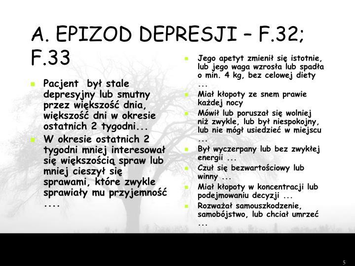 A. EPIZOD DEPRESJI – F.32; F.33