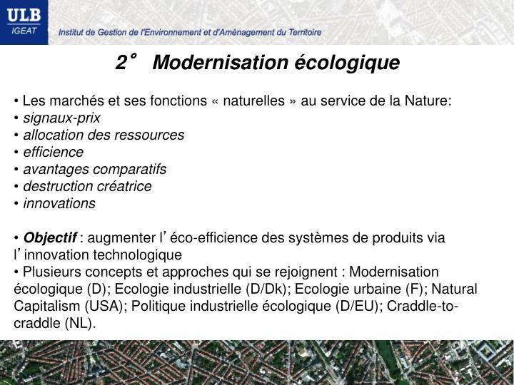 2° Modernisation écologique
