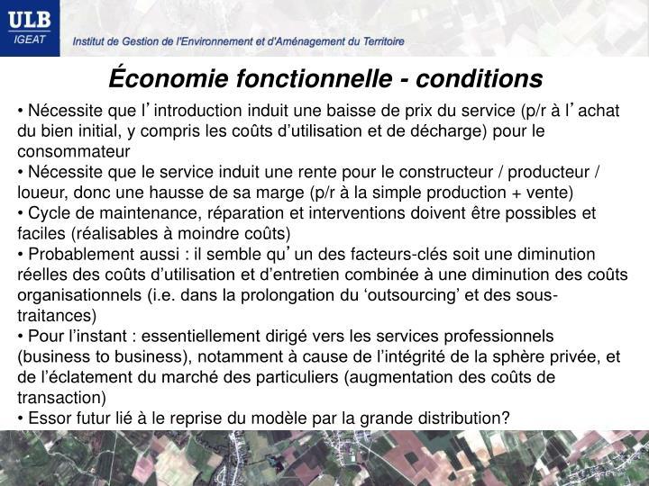 Économie fonctionnelle - conditions