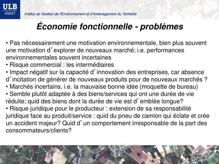 Économie fonctionnelle - problèmes