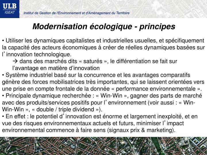 Modernisation écologique - principes