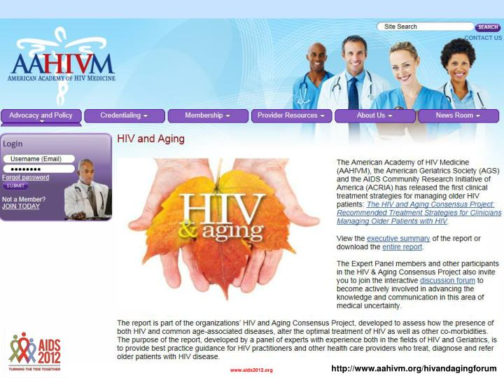 http://www.aahivm.org/hivandagingforum