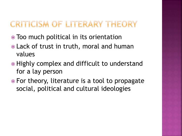Criticism of Literary Theory