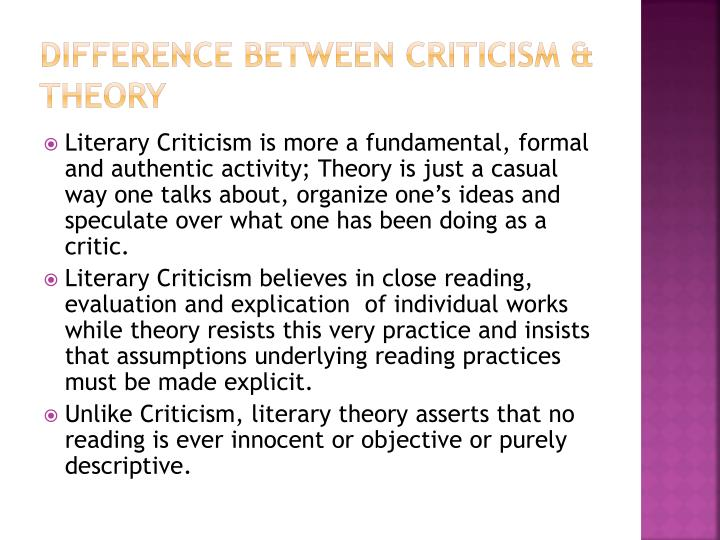 difference between Criticism & Theory