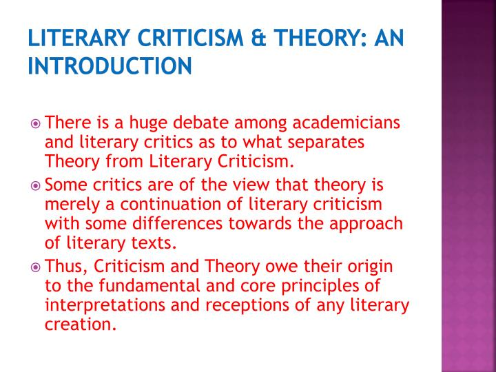 Literary criticism theory an introduction