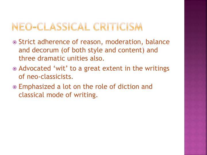 Neo-Classical Criticism