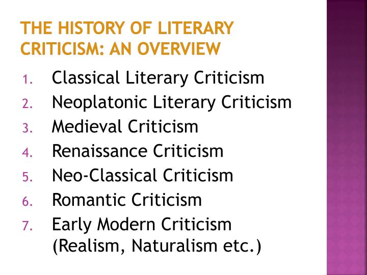 The History of Literary Criticism: An Overview