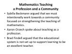 mathematics teaching a profession and a community