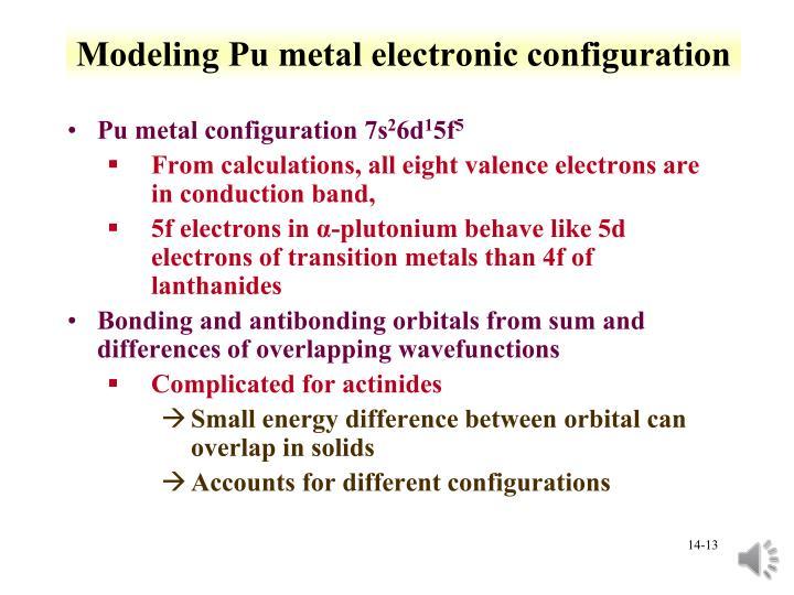Modeling Pu metal electronic configuration