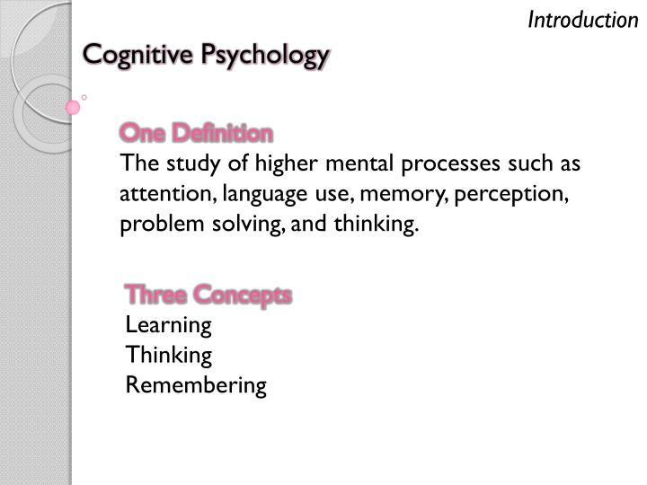 cognitive psychology definition Cognitive psychology is the study of mental processes such as attention, language use, memory, perception, problem solving, creativity, and thinking.