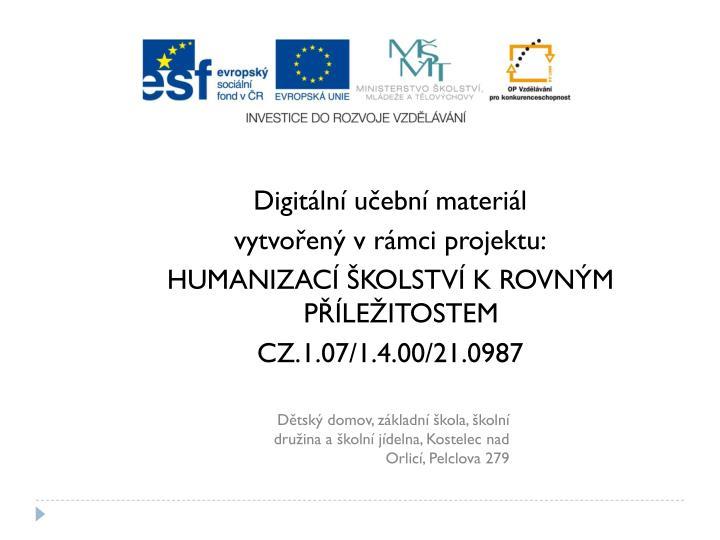 Dětský domov, základní škola, školní družina a školní jídelna, Kostelec nad Orlicí, Pelclova 279