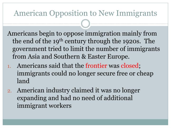American Opposition to New Immigrants