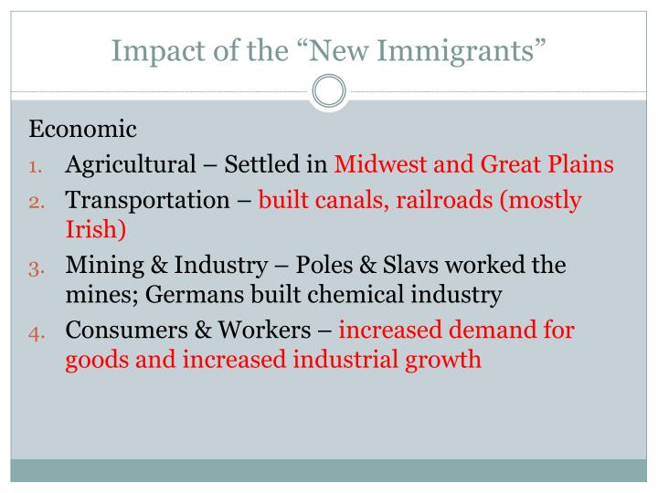 """Impact of the """"New Immigrants"""""""