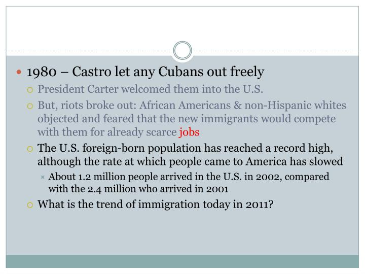 1980 – Castro let any Cubans out freely
