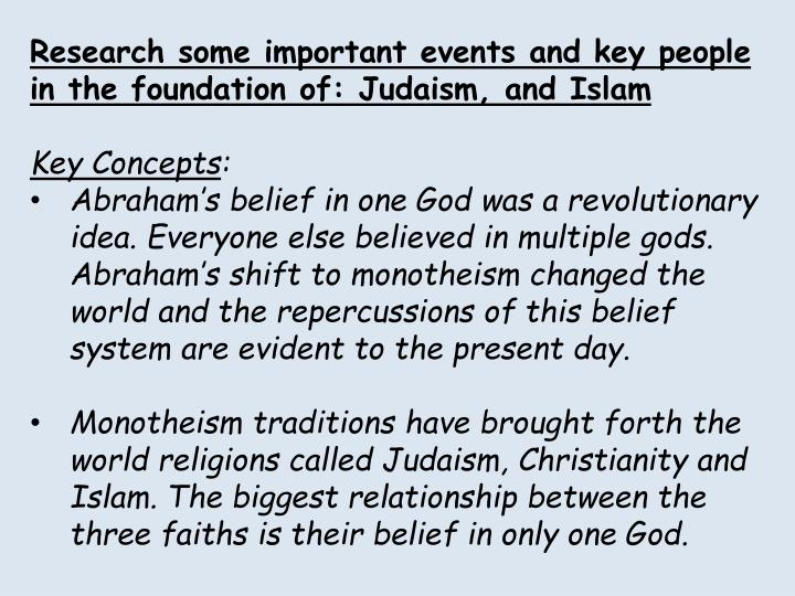 Research some important events and key people in the foundation of: Judaism, and Islam
