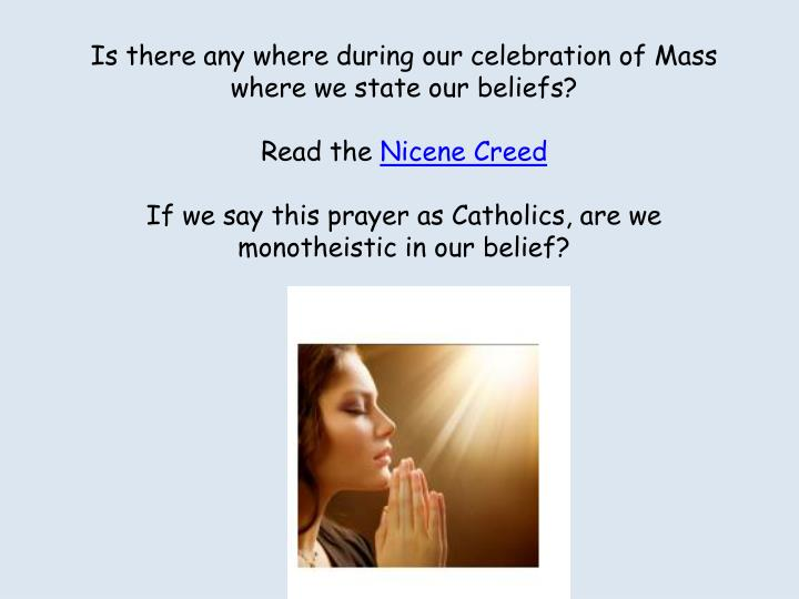Is there any where during our celebration of Mass where we state our