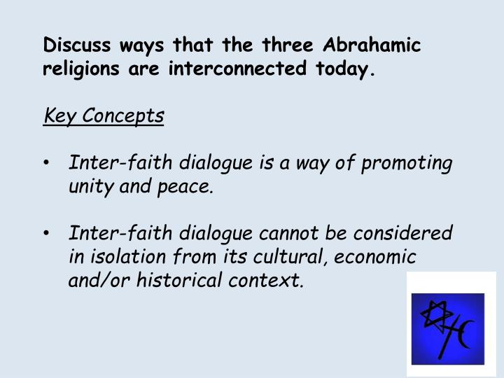 Discuss ways that the three Abrahamic religions are interconnected today.