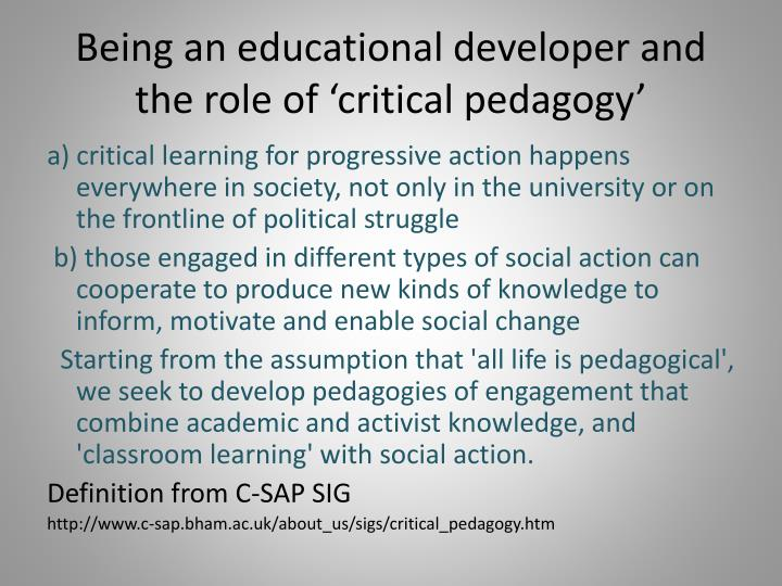 Being an educational developer and the role of 'critical pedagogy'