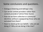 some conclusions and questions