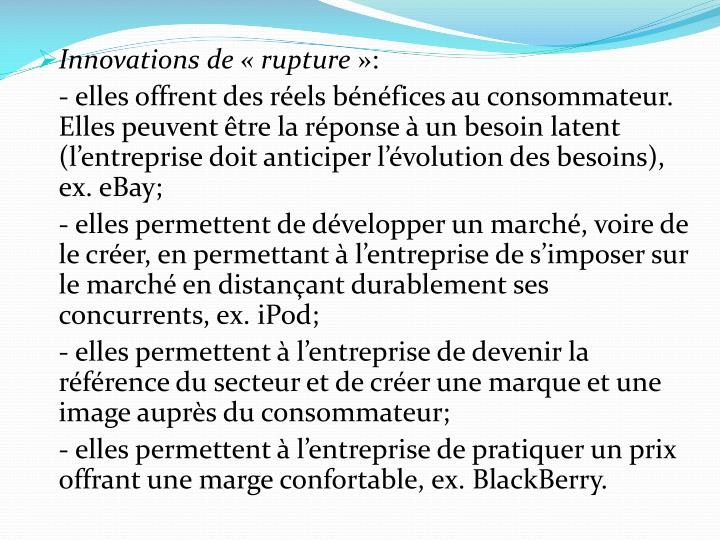 Innovations de «rupture
