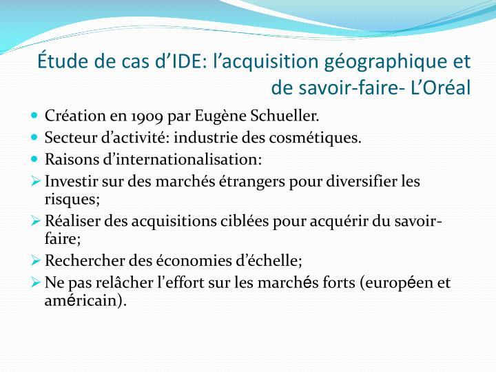 Étude de cas d'IDE: l'acquisition géographique et de savoir-faire- L'Oréal