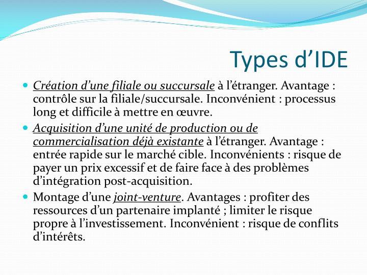 Types d'IDE