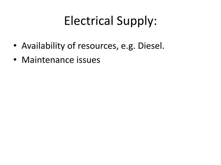 Electrical Supply: