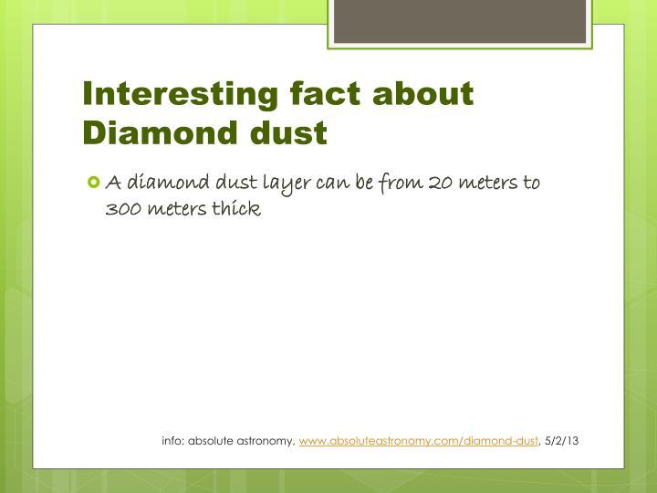 Interesting fact about Diamond dust