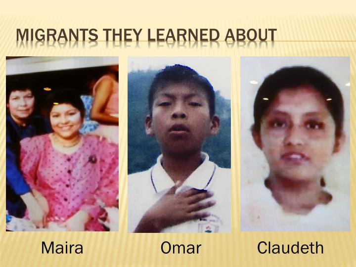 Migrants they learned about