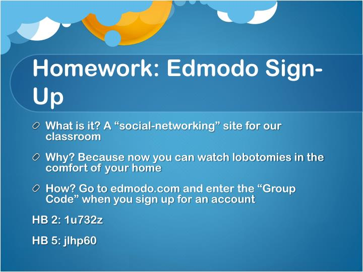 Homework edmodo sign up