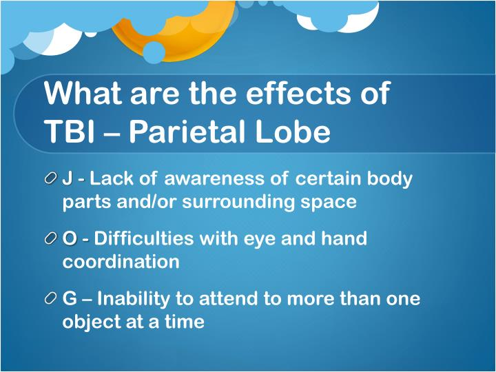 What are the effects of TBI – Parietal Lobe