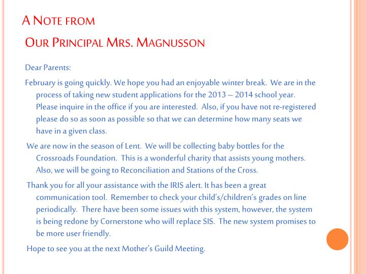 A note from our principal mrs magnusson
