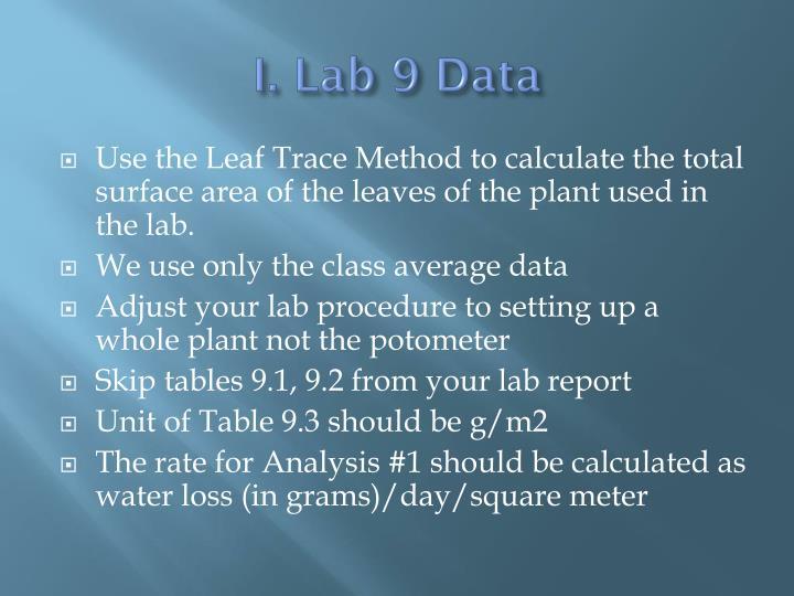 I. Lab 9 Data