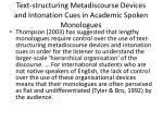 text structuring metadiscourse devices and intonation cues in academic spoken monologues