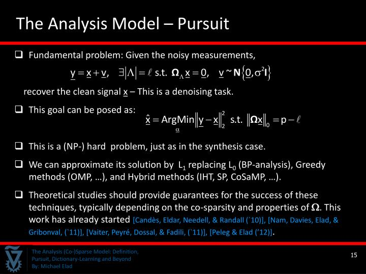 The Analysis Model – Pursuit