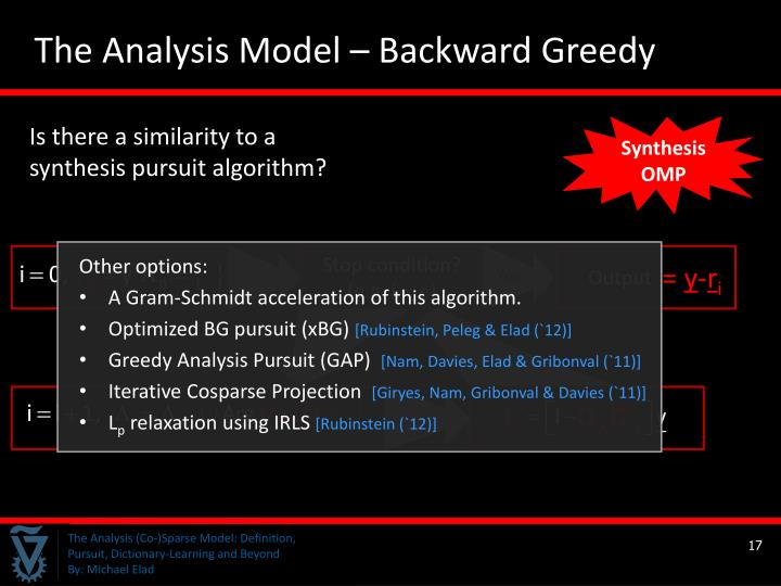 The Analysis Model – Backward Greedy