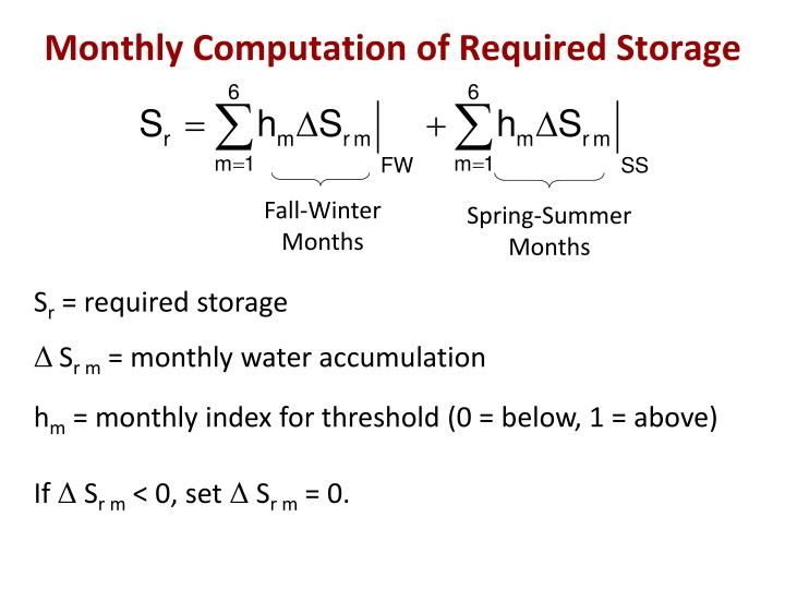 Monthly Computation of Required Storage
