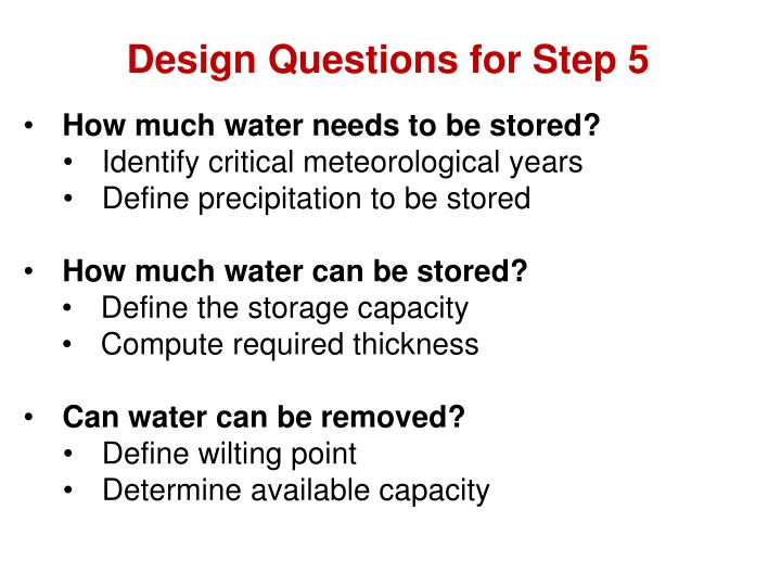 Design Questions for Step 5