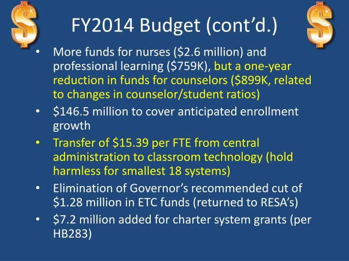 FY2014 Budget (cont'd.)