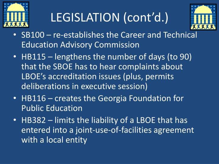 LEGISLATION (cont'd.)